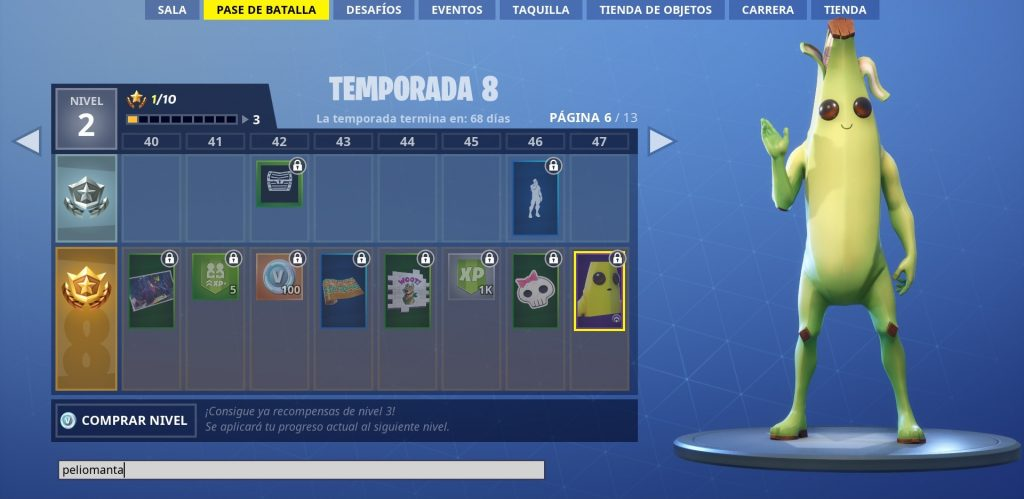 Superar misiones semana 1 temporada 8 de Fortnite. Peli o Manta. Banano Fortnite