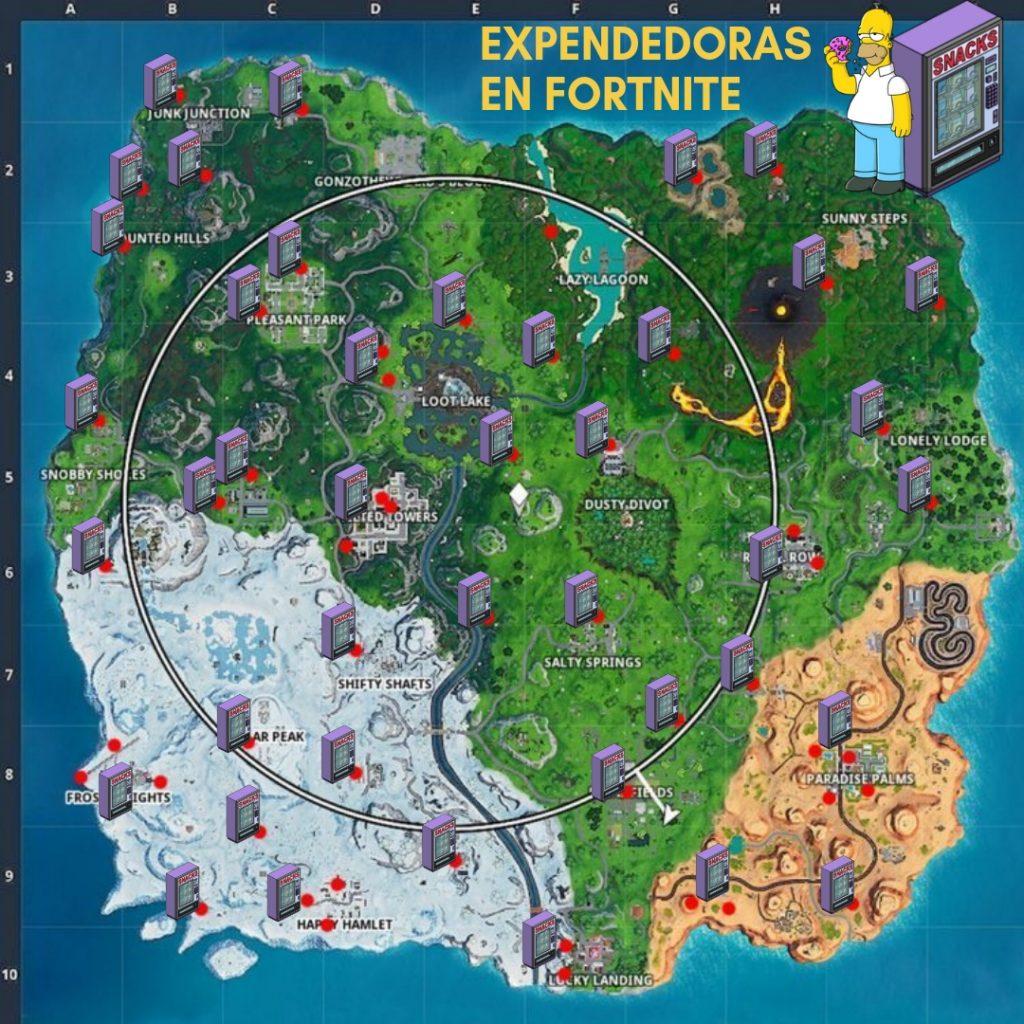Mapa de todas las maquinas expendedoras de fortnite temporada 8