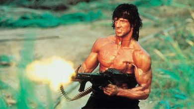Acorralado. Peli o Manta. Rambo disparando