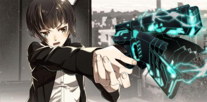 Peli o Manta. Resumen Psycho-Pass Temporada 1. Chica disparando pistola.