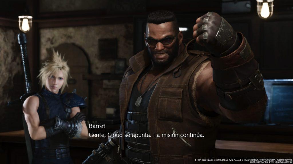 Barret celebrando, con el puño alzado, que Cloud se apunta a la misión