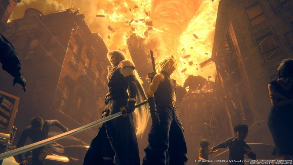 Sefirot y Cloud, espalda con espalda. En la review Final Fantasy VII te contamos que Sefirot está mucho más presente en este juego que en la sección de Midgar del original