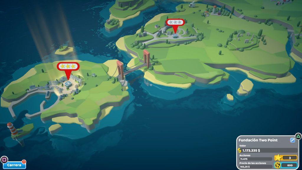Imagen número 4 de nuestra review Two Point Hospital de un mapa que marca diferentes misiones que vamos completando y que pueden puntuarte entre cero y tres estrellas, como en Overcooked, por ejemplo