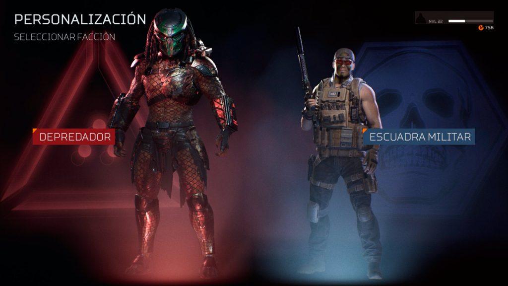 Imagen con el Depredador y la escuadra militar, las dos razas elegibles en el juego. Review Predator Hunting Grounds