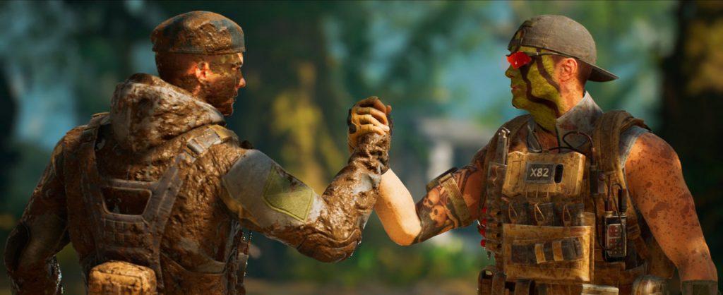 Dos soldados, llenos de camuflaje, dándose la mano. Review Predator Hunting Grounds