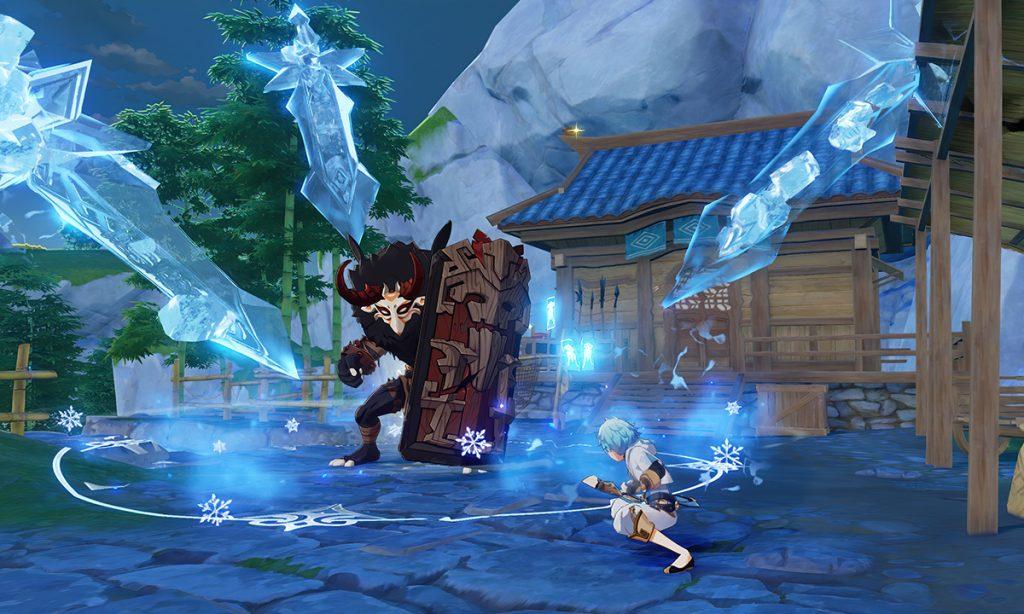 Chonyun enfrentrándose a un enemigo en la Review Genshin Impact