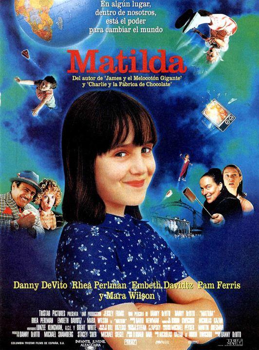 Puede verse el cartel de la película Matilda, una de nuestras películas en esta Recopilación de películas navideñas.
