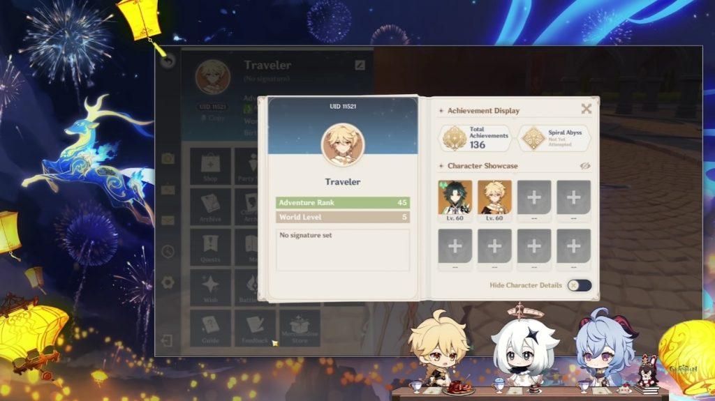 Genshin Impact se actualiza con un nuevo sistema de perfil ampliado