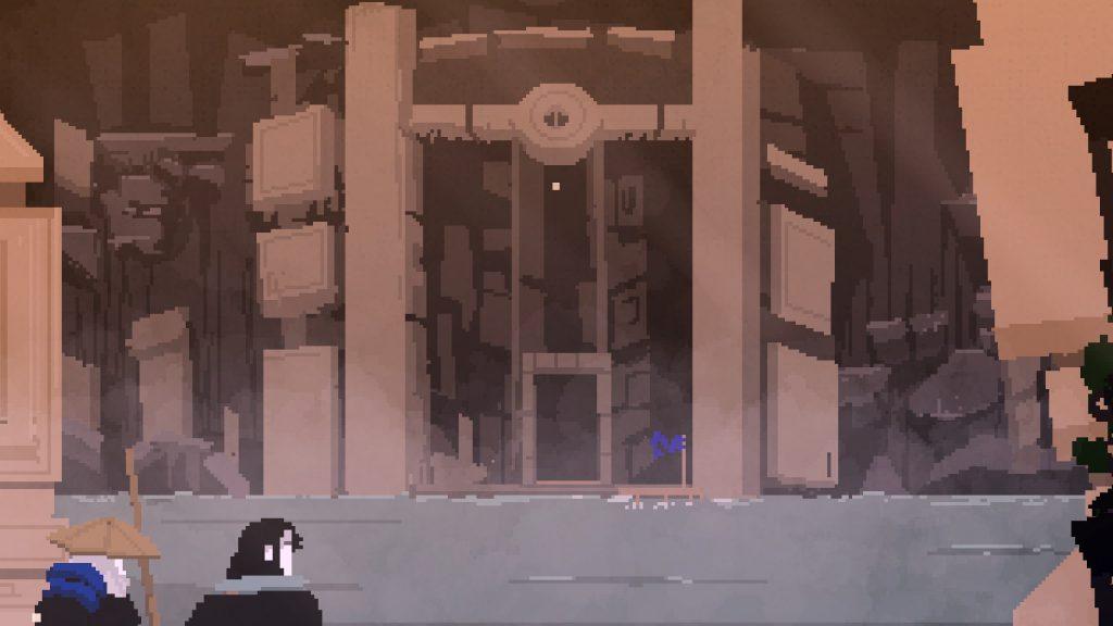 Faraday y el barquero se aproximan a la Puerta de las sombras en nuestra review de Olija
