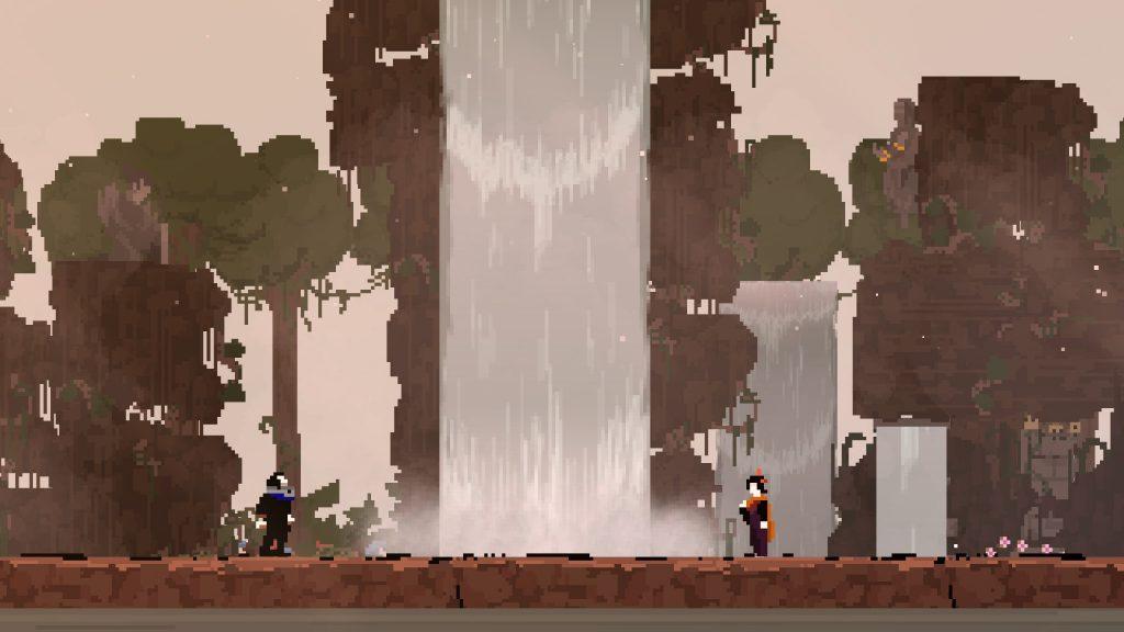Faraday y Lady Olija junto a una bucólica cascada