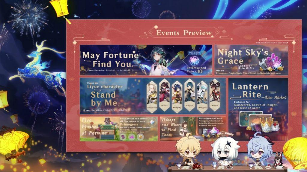 El calendario con todos los eventos disponibles en Genshin Impact: El festival de las linternas