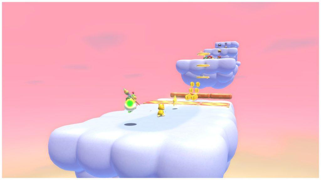 Mario Felino y Bowsy en una fase entre las nubes en nuestra Review de Mario 3D World+Bowser's Fury