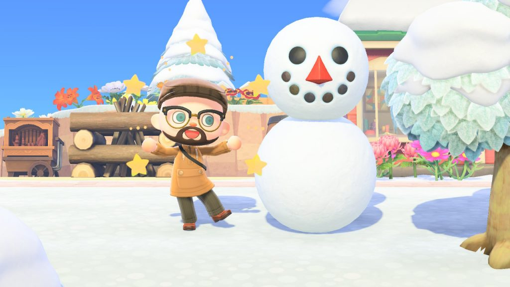 Un Año de Animal Crossing da para mucho, hasta para hacer muñecos de nieve.