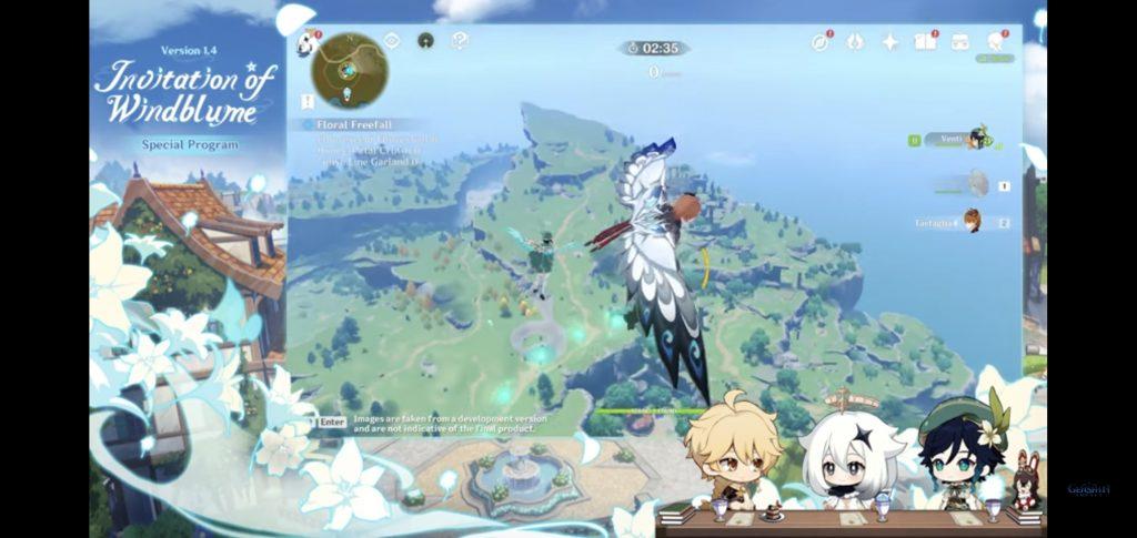 Venti y Nobile haciendo parapente con estilo en nuestro noticiero sobre Genshin Impact 1.4