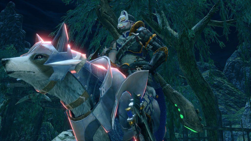 Nuestro aguerrido cazador acompañado de su fiel canyne en la Review de Monster Hunter Rise
